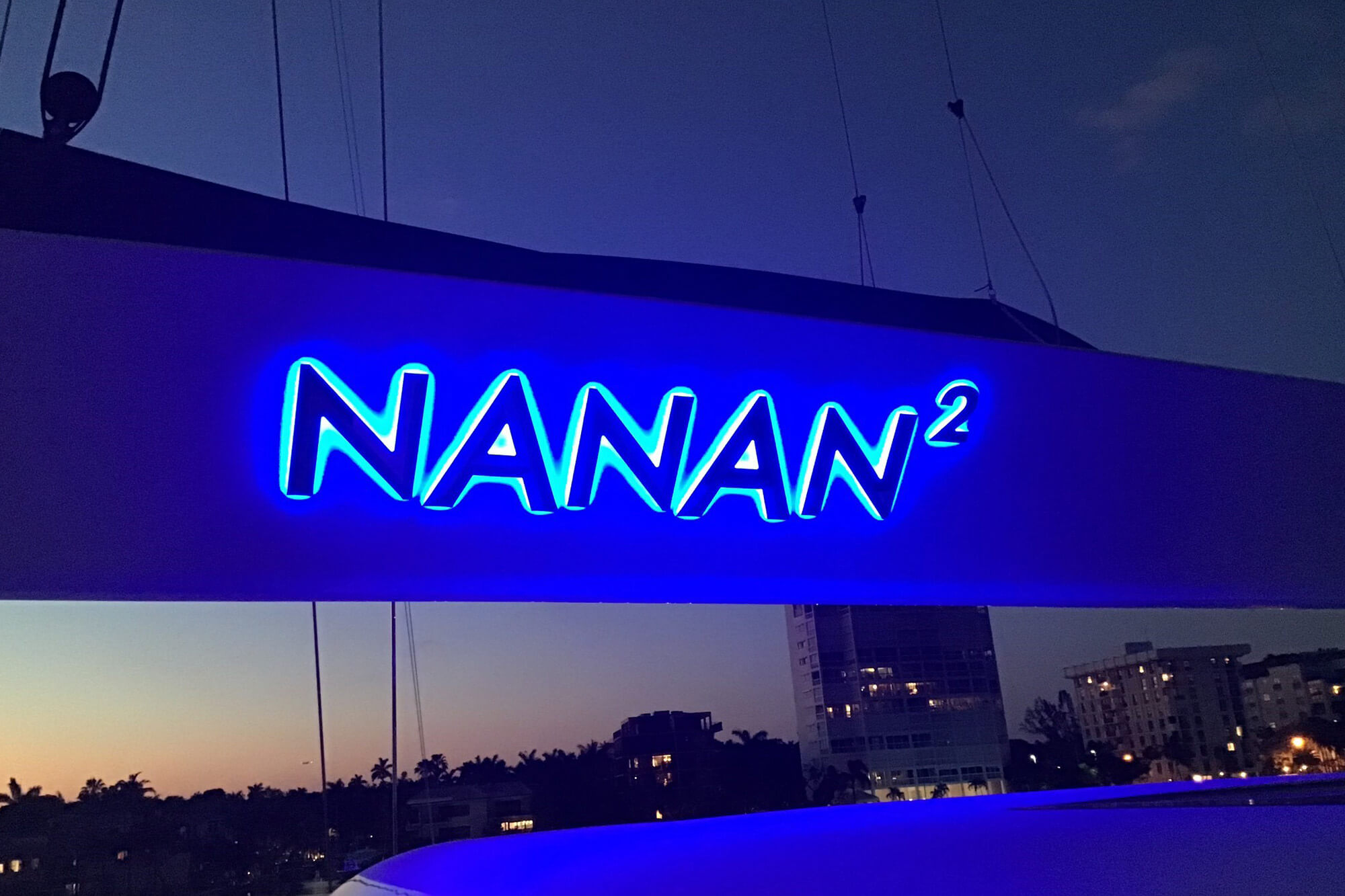 Yachtlite delivers Illuminated Letters for Catamaran Boom